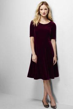 Women s elbow sleeve velvet a line dress from lands end