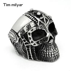 Stainless Steel Pirate Skull Rings Mens Military Ring Gothic Punk Vintage Cool Biker Men Jewelry USA Size 7 8 9 10 11 12 #Affiliate