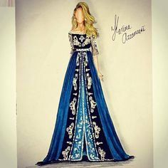 The beauty of blue. Fashion Design Portfolio, Fashion Design Drawings, Fashion Sketches, Caftan Gallery, Illustration Mode, Illustrations, Dress Sketches, Fashion Figures, Dress Drawing