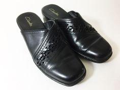 Clarks Clog Mules Shoes Slip On Slides Black Leather Womens Size 8 M  #Clarks #Slides #Casual