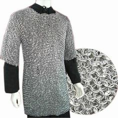 New Medieval Viking Chain Mail Huberk Butted Mild Steel Oil Finish Shirt Armor
