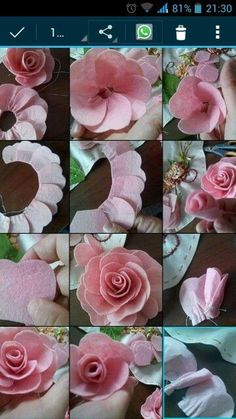 Rainbow's Crafts and Creations: How to Make Simple Felt Flowers Paper Flowers Diy, Handmade Flowers, Flower Crafts, Fabric Flowers, Diy Hair Bow Holder, Diy Hair Bows, Felt Crafts, Diy And Crafts, Carillons Diy