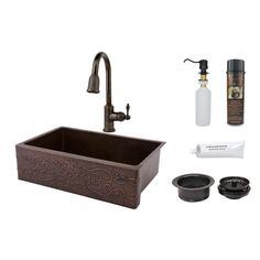 Premier Copper (Brown) Products 33-inch Scroll Design Copper Hammered Single Basin Sink and Faucet Package (KSP2_KASDB33229S)