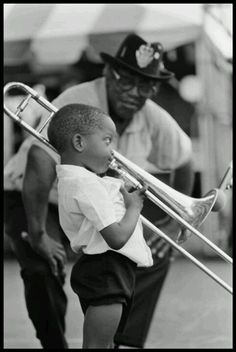 Shorty age 4 playing trombone for Bo Diddley