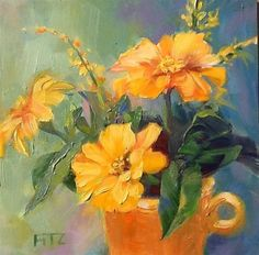 """Daily Paintworks - """"Zinnias Revisited"""" - Original Fine Art for Sale - © Jean Fitzgerald"""