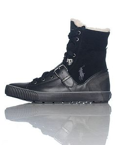Mens Polo Ralph Lauren Jilton Boots Black / Dark Grey 816126877001 Size 9.5