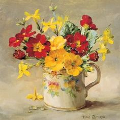 Primulas and Jasmine | Mill House Fine Art – Publishers of Anne Cotterill Flower Art
