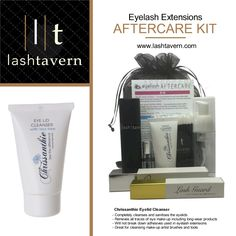 MUST HAVE! Get this fantastic eyelash AFTERCARE KIT from Lash Tavern USA ORDER ONLINE - IT'S A FABULOUS GIFT FOR CLIENTS Kit includes the all important anti-bacterial #Chrissanthie Eyelid Cleanser - use it every day to keep eyelash extensions, and natural lashes and eyelids clean and sanitized. #eyelashextensions #lashproducts #fransar #cils #vipper #wimpers #ögonfransförlängning #szempilla #prodluzovaniras #wimperverlenging #extensiondecils #wimpernverlängerung #estensioneciglia