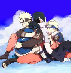 Naruto and Sasuke, young and old. Naruto y Sasuke, jóvenes y mayores.