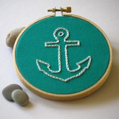 Nautical Hand Embroidered Hoop Wall Art/ White Anchor On Turquoise / 4-inch // Customizable Surf Art Ocean Art on Etsy, $26.00