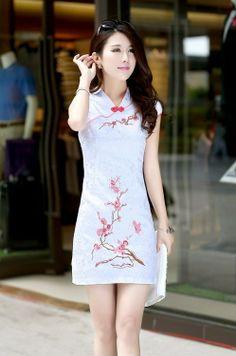 White Chinese Collar Mini Dress