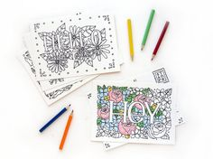 Coloring Postcards Set No. 1  Words and by SketchyNotions on Etsy