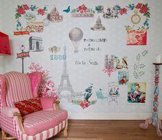 #Paris je t'aime by #Coordonné [papier peint intissé - dim. : H270 - L 3255 cm - vendu en 7 lés - 464€ - www.aufildescouleurs.com]
