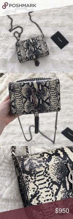 Gently used Saint Laurent python Kate bag 100% authentic was a limited edition print in 2015. It's been used but still has a lot of life left, the signs of wear are shown in the pics. Retail was $2390 Saint Laurent Bags