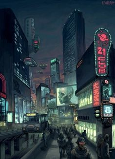 art, city, cyberpunk, dark, future, illustration
