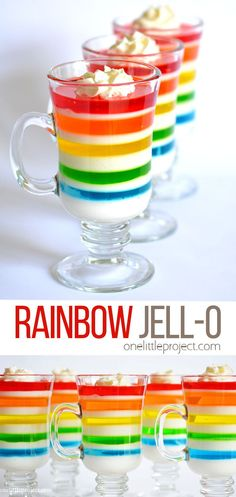 This rainbow jell-o dessert is so FUN and tastes as good as it looks! Jello Recipes, Dessert Recipes, Desserts, Easy Recipes, Rainbow Jello, Good Food, Yummy Food, Food Stamps, Yummy Appetizers