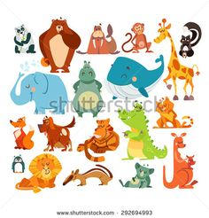 Set of cute kawaii cartoon animals. Panda bear, bear, monkey, giraffe, skunk, elephant, hippo, whale, fox, dog, tiger, alligator, cat, penguin, lion, koala and kangaroo. Vector illustrations - stock vector