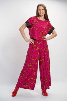 Vellamo Trousers - Purple :: Vuurran.fi Seventh Wave, Wide Leg Trousers, Black Fabric, Fabric Patterns, Woven Fabric, Elegant, Purple, Beautiful, Collection