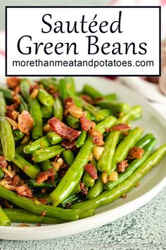 Bacon and garlic will add a ton of flavor to green beans. Our sauteed green beans with bacon recipe shows you how to take your veggies to the next level! Sauteed Green Beans, Green Beans With Bacon, Garlic Green Beans, Sauteed Greens, Side Dishes Easy, Side Dish Recipes, Sauteed Brussel Sprouts, Loaded Sweet Potato