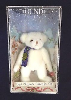 Gund Christmas Collection 1991 Plush White Gundy Bear Yule Beary New