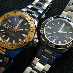 Two Aquaracers 500, left Rose Gold bezel, right Ceramic #tagheuer #aquaracer500m #watch
