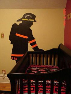 I would add angel wings to the fireman so its like my dad watching over my son Firefighter Bedroom, Firefighter Home Decor, Firefighter Family, Firefighter Baby Showers, Firefighter Tools, Firefighters Wife, Firefighter Quotes, Baby Boy Rooms, Baby Boy Nurseries