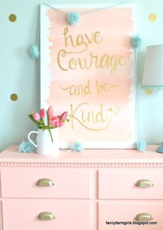 Add a little whimsy to a girl's room with fresh paint colors and gold accents.