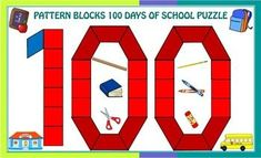 Pattern Blocks 100 Days of School Puzzles FREE