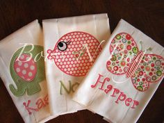 Set of 3 Applique Burp Cloths for Girls With Monogram - Great Baby Gift. $28.00, via Etsy.