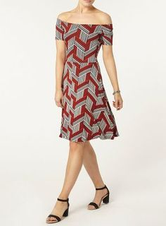 Dorothy Perkins Red geo printed dress | Debenhams