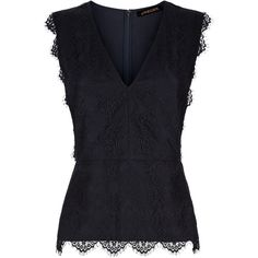 Jaeger Scallop Lace Top, Midnight ($86) ❤ liked on Polyvore featuring tops, v-neck tops, special occasion tops, v neck sleeveless top, sleeveless tops and lace v neck top