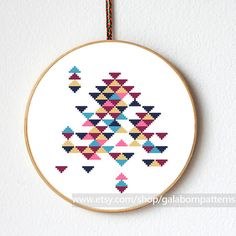 Abstract triangles - Modern cross stitch - Counted cross stitch pattern PDF