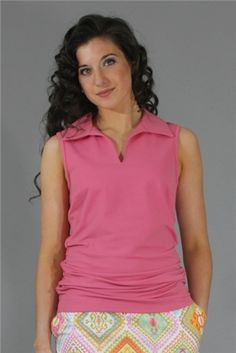 Wear to Win Shirts - Slimming Ruched Pink.  Buy it @ ReadyGolf.com Womens Golf Shirts, Ladies Golf, Slim, Pink, How To Wear, Tops, Style, Fashion, Swag