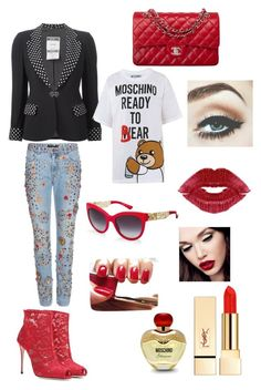 Red details by akiramglam on Polyvore featuring polyvore, fashion, style, Moschino, Dolce&Gabbana, Chanel and PUR