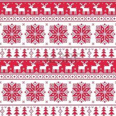 Noël nordique rouge seamless avec des cerfs