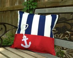 """Outdoor Pillow Nautical """"Anchor"""" in Blue and White Stripes with Red Accent Sprin. Outdoor Pillow Nautical """"Anchor"""" in Blue and White Stripes with Red Accent Spring Summer Home & Garden Patio Boat Decor . Nautical Anchor, Nautical Home, Lake Decor, Coastal Decor, Boot Dekor, Baby Pillows, Throw Pillows, Bolster Pillow, Nautical Pillows"""