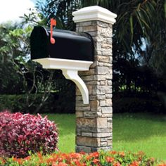 Cast Stone Mailbox Post - Stacked Stone Gray
