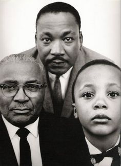 Martin Luther King, Jr with his father and son
