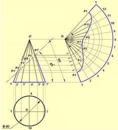 Development of Surfaces Geometric Shapes Art, Geometric Drawing, Geometric Patterns, Mathematics Geometry, Geometry Art, Sacred Geometry, Isometric Drawing Exercises, Metal Drawing, Sheet Metal Work