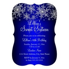 Blue and Silver Snowflake Winter Wonderland Sweet 16 Invitations by Zizzago