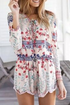 Stylish Long Sleeve Scoop Neck Lace-Up Printed Women's Romper Jumpsuits & Rompers   RoseGal.com Mobile