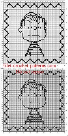 Boy girl crochet filet pillow cushion with Peanuts Linus - free filet crochet patterns download