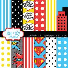 customizable superhero digital scrapbook papers/ fundos para convite e tag das lembrancinhas