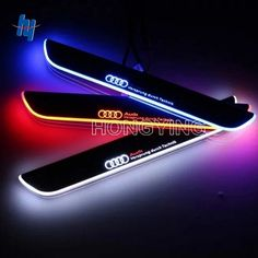 79.16$  Watch now - http://alid6w.shopchina.info/1/go.php?t=32802093277 - 4PCS 12V LED Moving Front&Rear Door Sill Guards Stainless Steel Scuff Plate Welcome Pedal For Audi A6 C7 2013 2014 2015  #aliexpress