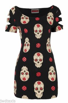 JAWBREAKER DAY OF THE DEAD SKULL GOTH PUNK T SHIRT TOP TUNIC DRESS 8 10 12 14