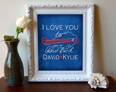 "Buffalo Bills inspired personalized ""I Love You to Buffalo and Back"" ART PRINT parody - Unframed"