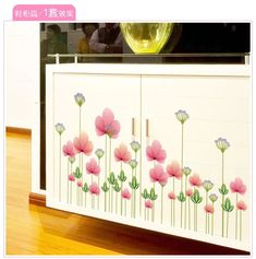 Grass Pink Flower Wall Sticker Decoration for Home Room Decor diy Wall Decals posters stickers muraux 45082 Room Stickers, Kitchen Wall Stickers, Flower Wall Stickers, Kitchen Wall Art, Vinyl Wall Stickers, Sticker Shop, Wall Decals, Diy Room Decor, Art Decor