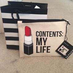 NEW Breakups to makeup Sephora cosmetic bag Super cute cosmetic and brush holder bag. Received from Sephora as a limited edition vib rouge perk. Cute pattern and inside is red. Never used brand new with tags. Breakups to makeup bag Sephora Bags Cosmetic Bags & Cases