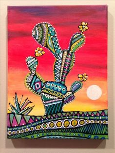 Zentangle cactus with colors art garden indoor plants Cactus Drawing, Cactus Painting, Cactus Art, Cactus Plants, Cactus Terrarium, Desert Art, Southwest Art, Mexican Folk Art, Art Plastique
