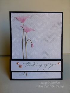 Memory Box Prim Poppy Die - What did I do today?: Magical Magnolias + Chevrons + Colour Q Envelopes Decorados, Memory Box Cards, Memory Box Dies, Poppy Cards, Embossed Cards, Stamping Up Cards, Get Well Cards, Cute Cards, Cards Diy
